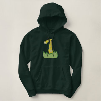 cute giraffe in bushes embroidered hoodie