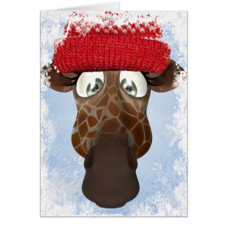 Cute Giraffe in Winter Hat Christmas Card