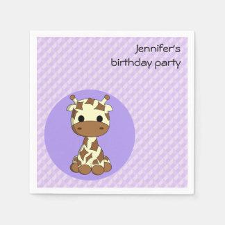 Cute giraffe kawaii cartoon girls name birthday disposable serviette