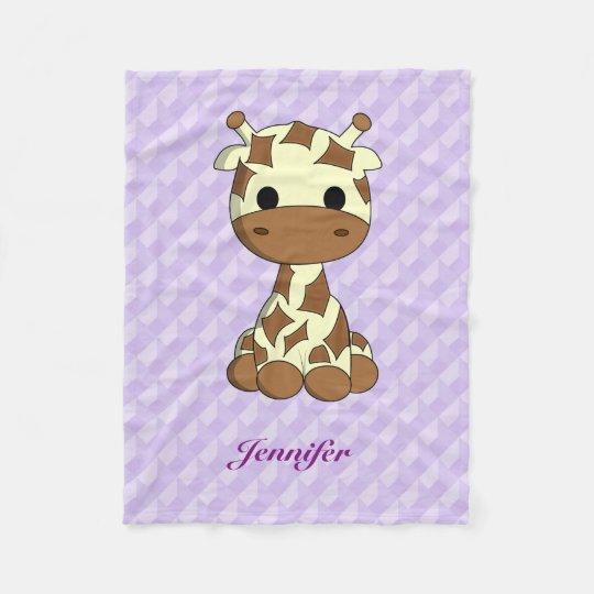 Cute giraffe kawaii cartoon kids name fleece blanket