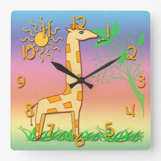 Cute Giraffe Kid's Square Wall Clock