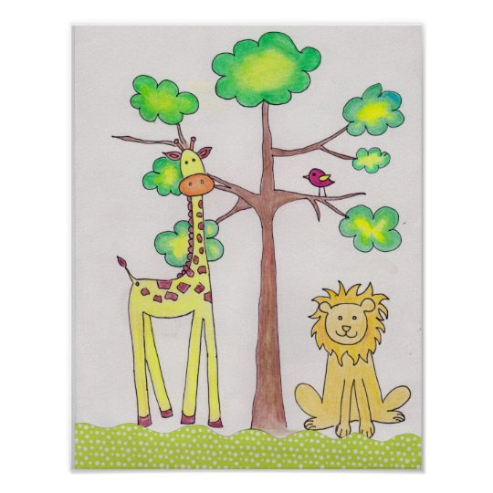Cute giraffe lion illustration nursery art poster