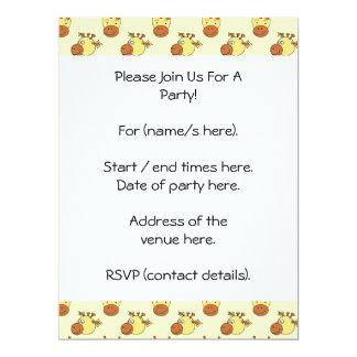 Cute Giraffe Pattern. Cartoon Animals. 17 Cm X 22 Cm Invitation Card