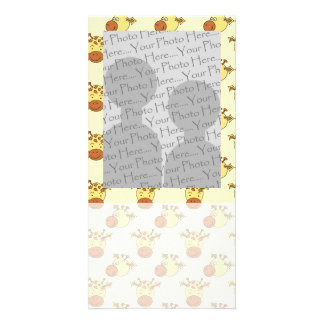 Cute Giraffe Pattern. Cartoon Animals. Card