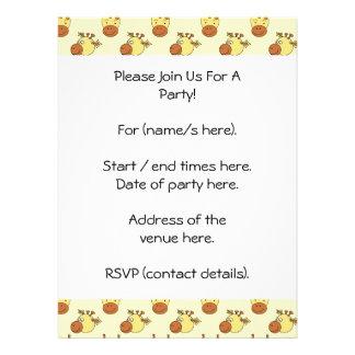 Cute Giraffe Pattern Cartoon Animals Invitations