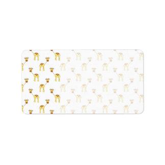 Cute Giraffe Pattern. Address Label