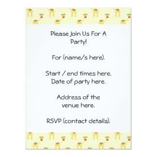 Cute Giraffe Pattern on Yellow. 17 Cm X 22 Cm Invitation Card