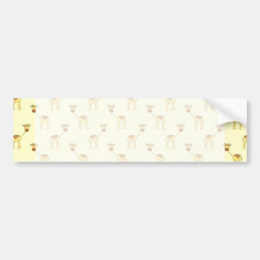 Cute Giraffe Pattern on Yellow. Bumper Stickers