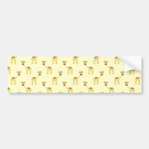 Cute Giraffe Pattern on Yellow. Bumper Sticker