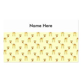Cute Giraffe Pattern on Yellow Business Card Templates