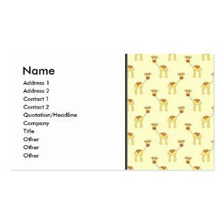 Cute Giraffe Pattern on Yellow Business Cards
