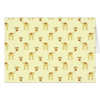 Cute Giraffe Pattern on Yellow Card