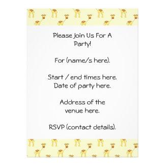 Cute Giraffe Pattern on Yellow Invites