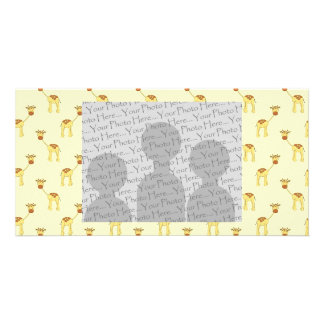 Cute Giraffe Pattern on Yellow Picture Card