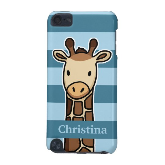 Cute Giraffe, Personalised Name, Blue Stripes iPod Touch (5th Generation) Covers