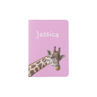 Cute Giraffe Personalized Girly Name Passport Holder