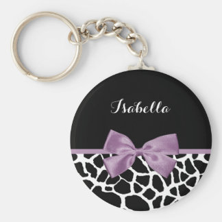 Cute Giraffe Print Lavender Purple Bow With Name Basic Round Button Key Ring