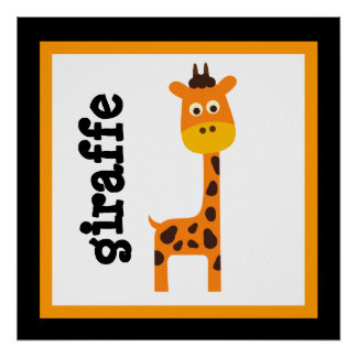 Cute Giraffe Safari Animals Baby Kids Poster