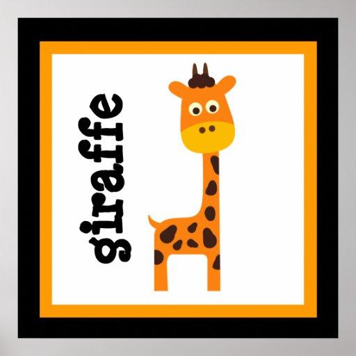 Cute Giraffe Safari Animals Baby Kids Poster