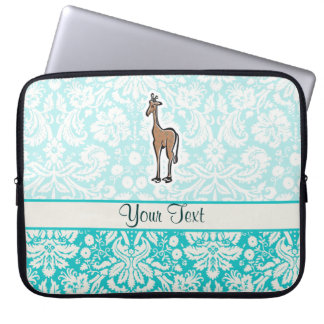 Cute Giraffe; Teal Computer Sleeve
