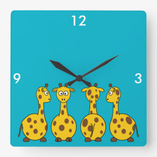 Cute Giraffe, Wild Animal Square Wall Clock