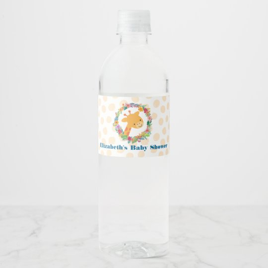 Cute Giraffe with a Floral Wreath Baby Shower Water Bottle Label