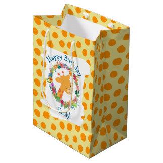 Cute Giraffe with a Floral Wreath Custom Birthday Medium Gift Bag