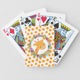 Cute Giraffe with a Floral Wreath on Orange Spots Bicycle Playing Cards