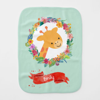 Cute Giraffe with a Floral Wreath Personalized Burp Cloth