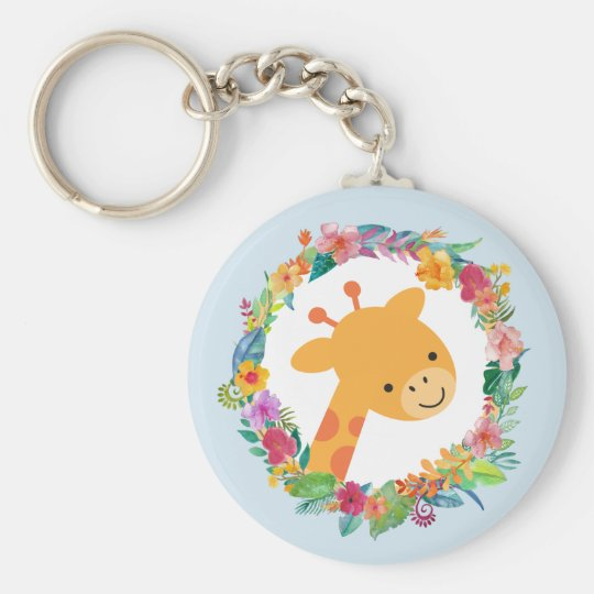 Cute Giraffe with a Watercolor Floral Wreath Key