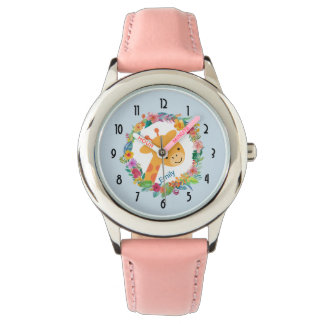 Cute Giraffe with a Watercolor Floral Wreath Wristwatch