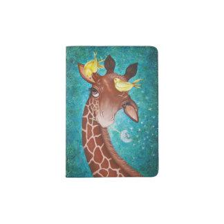 Cute Giraffe with Birds Passport Holder