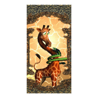 Cute giraffe with dragon, so funny personalised photo card