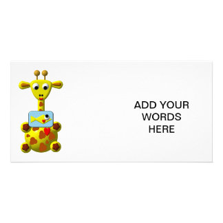 Cute Giraffe with Goldfish Customized Photo Card