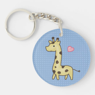 Cute Giraffe With Heart Illustration Single-Sided Round Acrylic Key Ring
