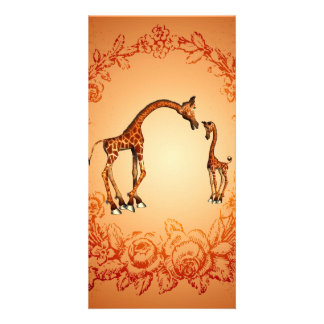Cute giraffe with their child custom photo card