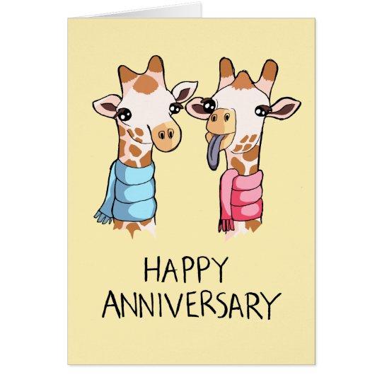 Cute Giraffes Scarves Drawing Anniversary Card