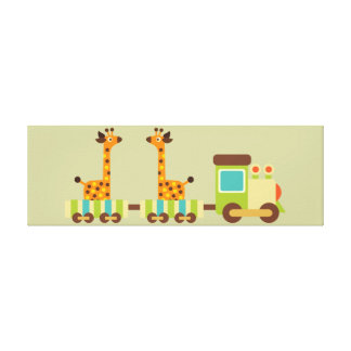Cute Giraffes Train Canvas Kids Wall Decor Baby Stretched Canvas Print