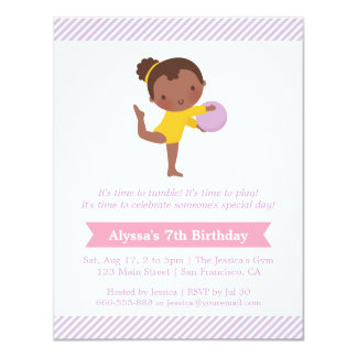 Cute Girl and Ball Gymnastics Kids Birthday Party Card