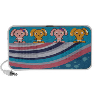 cute girl and boy puppies travelling speakers