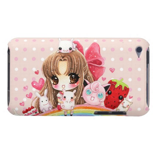 Cute girl and kawaii animals sitting on rainbow barely there iPod case