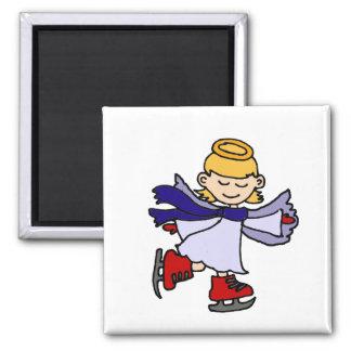 Cute Girl Angel Ice Skating Original Square Magnet
