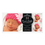 Cute Girl Baby Photo Monogram  Birth Announcement