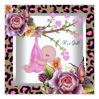 Cute Girl Baby Shower Girl Pink Wild Child Leopard 5.25x5.25 Square Paper Invitation Card