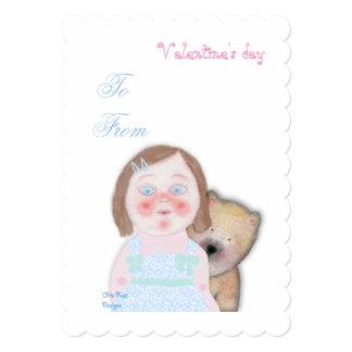 Cute girl & bear Valentine's Love invitation. 13 Cm X 18 Cm Invitation Card