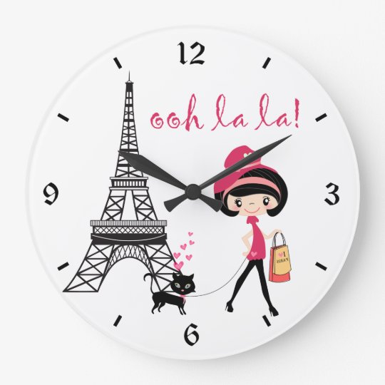 Cute Girl, Black Cat with Eiffel Tower Paris