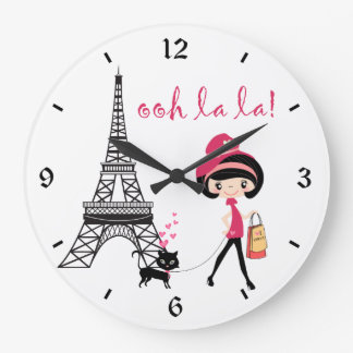 Cute Girl, Black Cat with Eiffel Tower Paris Large Clock