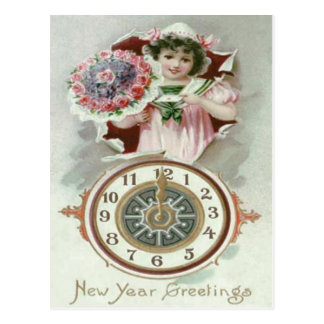 Cute Girl Bouquet Roses Clock Midnight Postcard