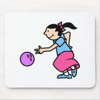 Cute girl bowler mouse pad