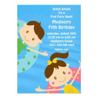 CUTE Girl Boy Pool Party Birthday Invitation
